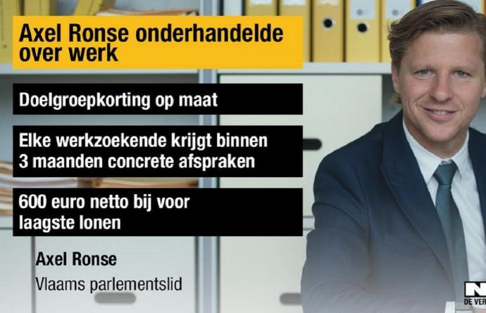 Axel Ronse Vlaamse regering kopman werk