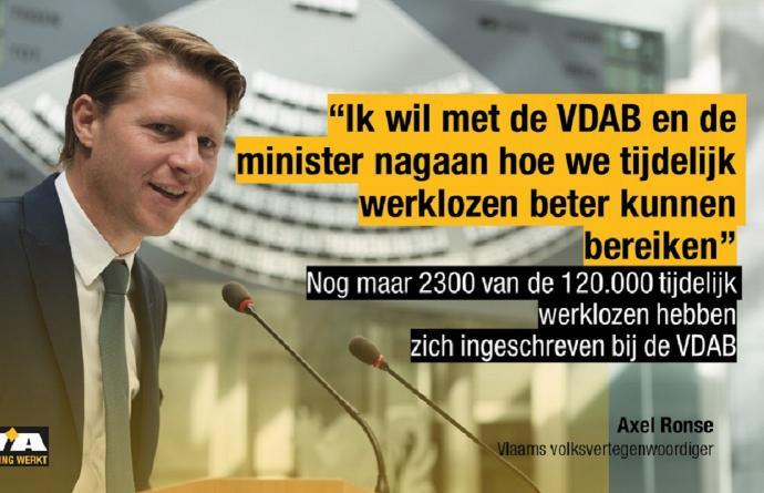 """""""Slechts 2300 van de tijdelijke werklozen gaan in op aanbod van VDAB"""""""
