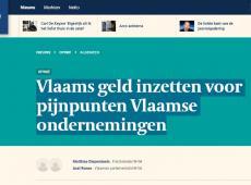 De Tijd : Vlaams geld inzetten voor pijnpunten Vlaamse ondernemingen
