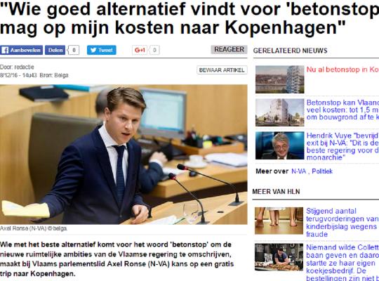 """""""Wie goed alternatief vindt voor 'betonstop' mag op mijn kosten naar Kopenhagen"""""""